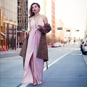 Dresses & Skirts - Pink Velvet Plunging Neck High Leg Slit Maxi Dress